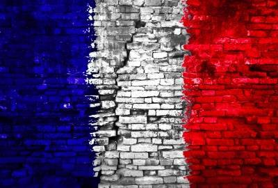 French flag on wall